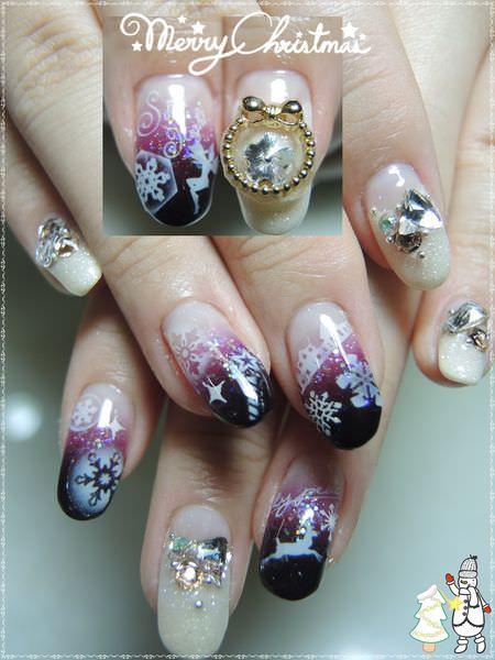 【聖誕特輯-美甲】指甲也要聖誕一下~白雪國度平安夜光療指甲